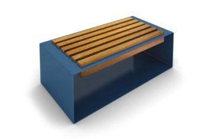 mobilier urbain banquette en acier et bois LAB23