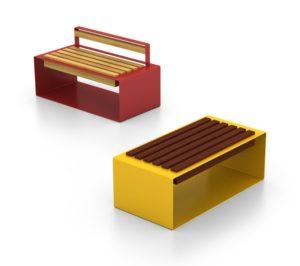 mobilier urbain bancs en acier et bois LAB23
