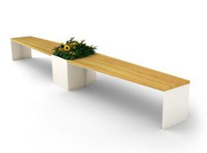 mobilier urbain banquette en acier et bois avec jardinière LAB23