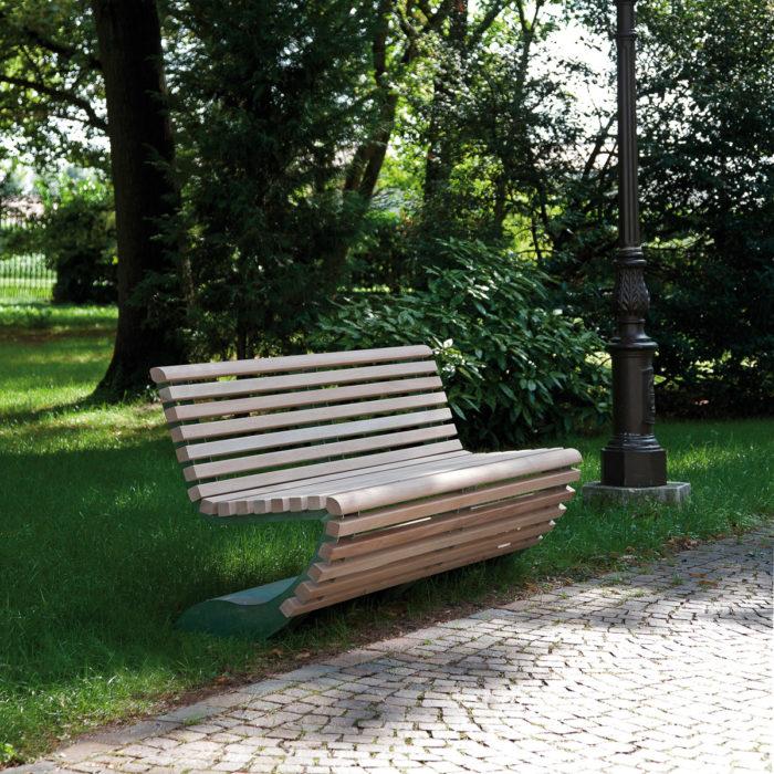 Bench panchina in ferro e legno arredo urbano LAB23