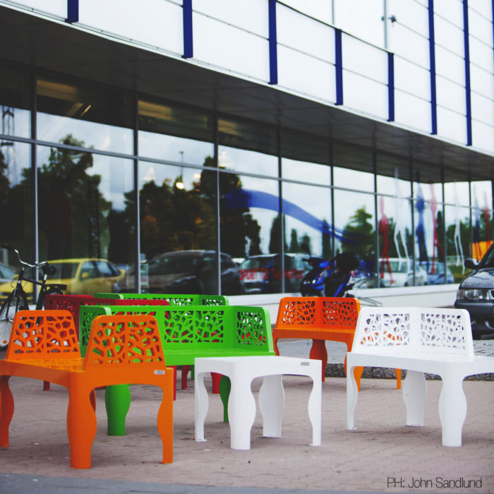 mobilier urbain bancs LAB23 Ikano Mall Suéde