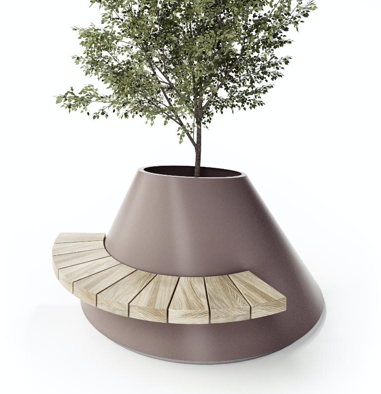 mobilier urbain jardiniere avec assise LAB23