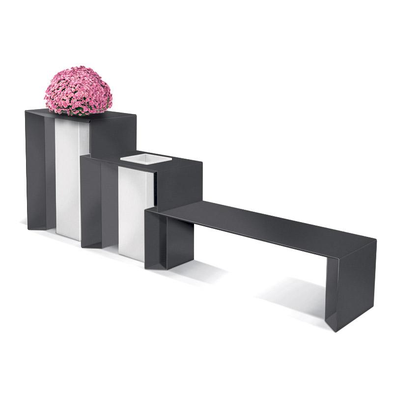 mobilier urbain banquette avec cendrier et jardinière LAB23
