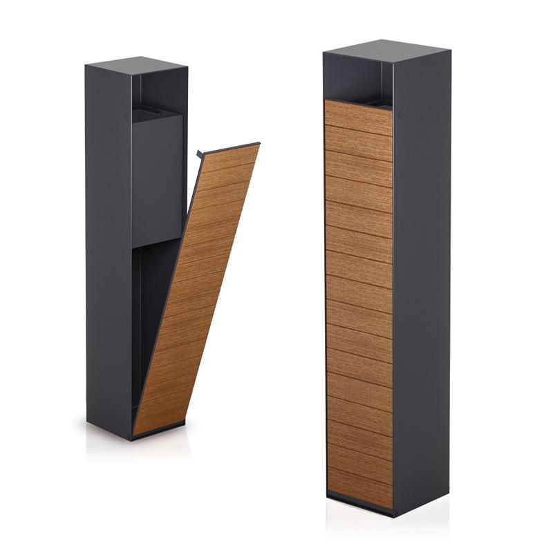mobilier urbain corbeille en acier et bois LAB23
