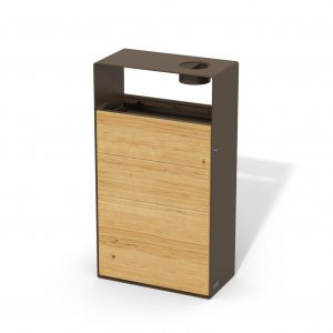 street furniture ground-floor litter bin in wood-steel with ashtray LAB23