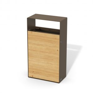 street furniture ground-floor litter bin in wood-steel LAB23