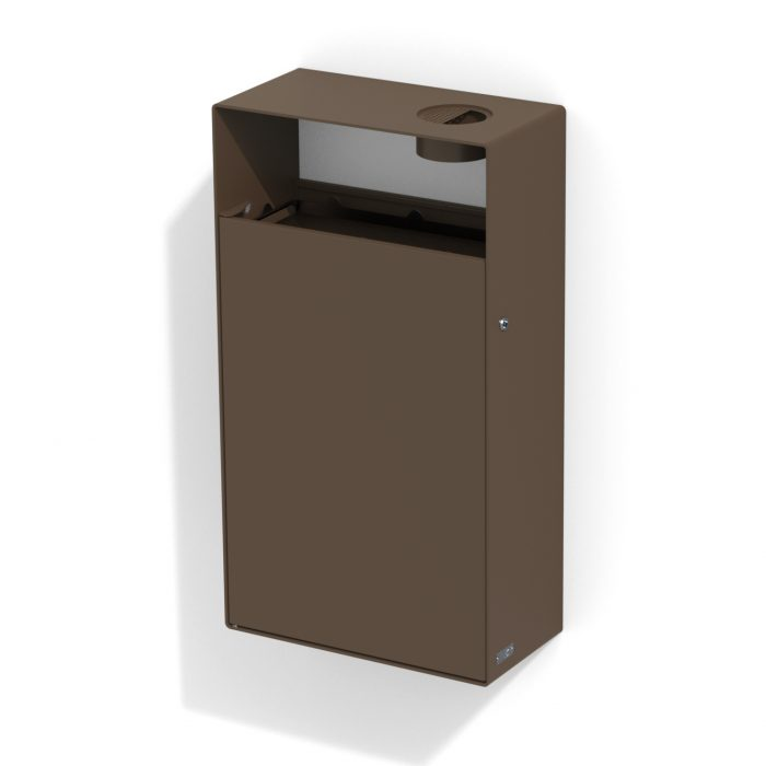 street furniture wall litter bin in steel with ashtray LAB23