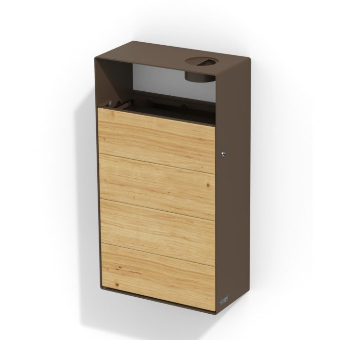 street furniture wall litter bin in wood-steel with ashtray LAB23
