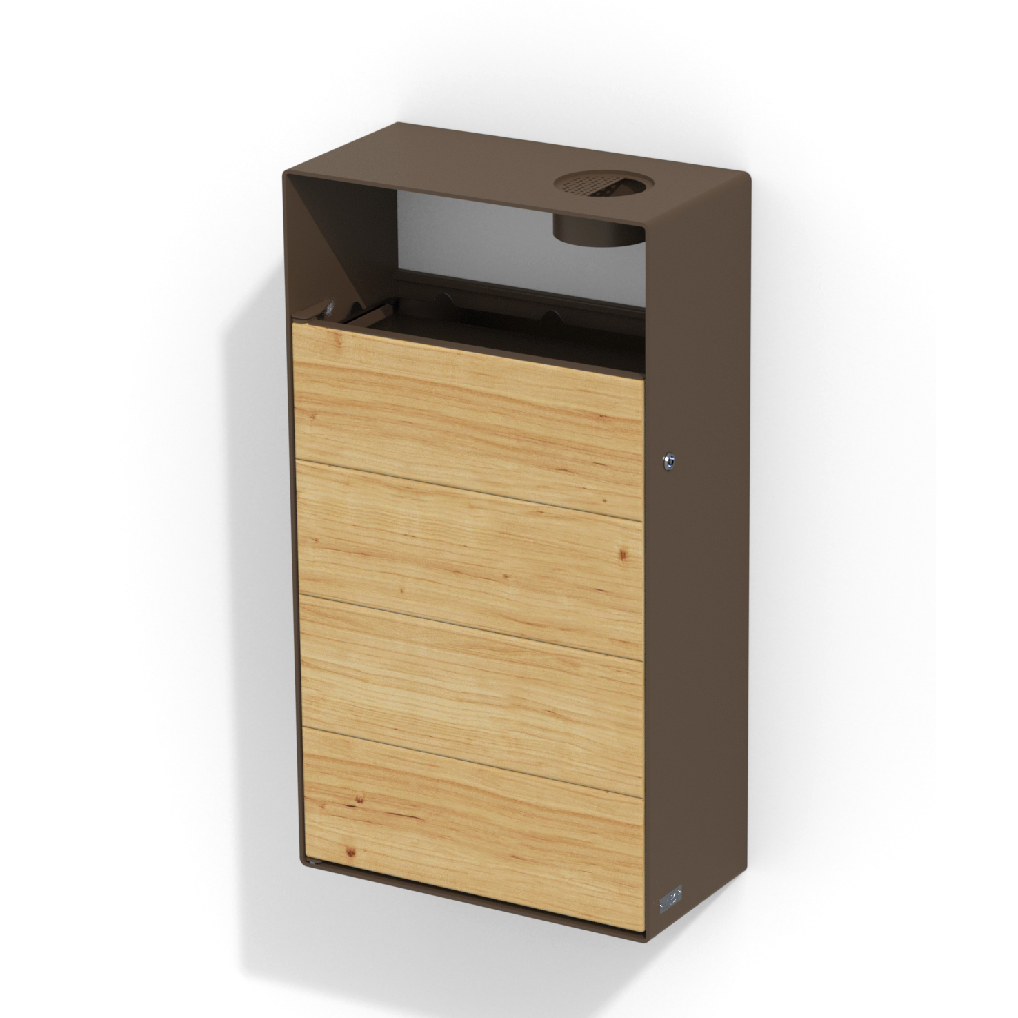 street furniture wall litter bin in wood-steel with ashtray LAB23