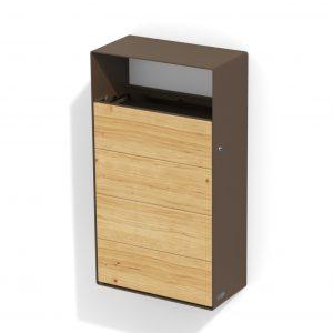 mobilier urbain corbeille a fixer en acier-bois LAB23