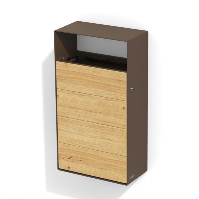 street furniture wall litter bin in wood-steel LAB23