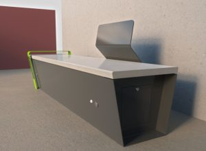 panchina tecnologica con USB, SENSORI E LED - arredo urbano LAB23