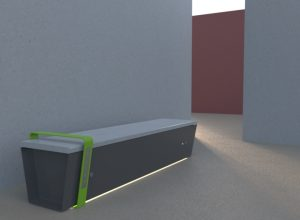 panchina tecnologica con USB, SENSORI E LED - arredo urbano - LAB23