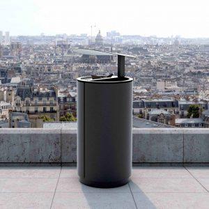 street furniture litter bin with raincover LAB23