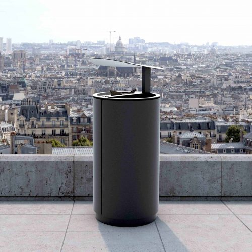 street furniture litter bin with raincover LAB23